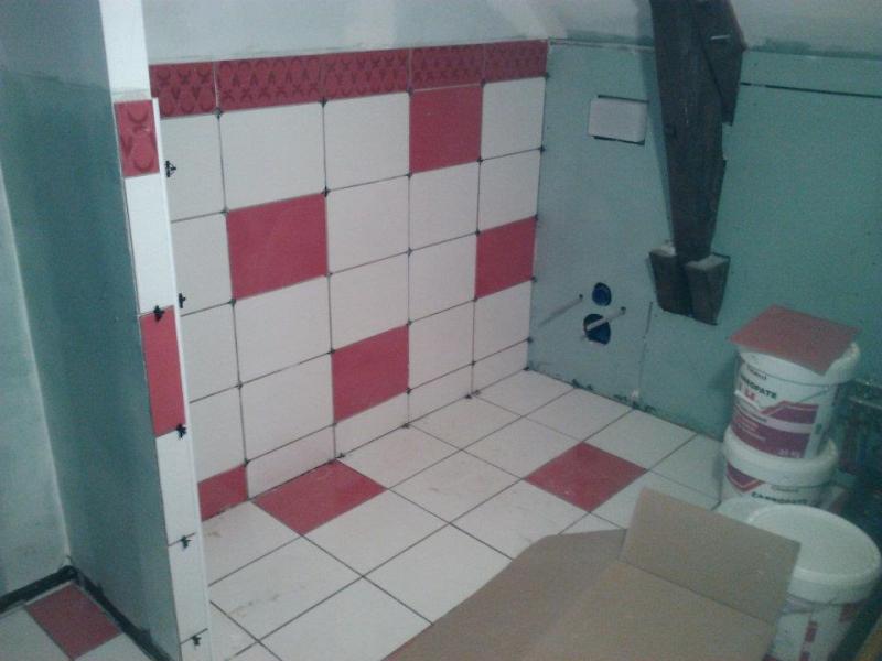 salle de bain rouge et blanche sarl mesturoux bossoutrot. Black Bedroom Furniture Sets. Home Design Ideas